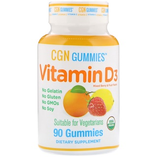 California Gold Nutrition, Organic, Vitamin D3 Gummies, No Gelatin, No Gluten, Mixed Berry & Fruit Flavors, 90 Gummies