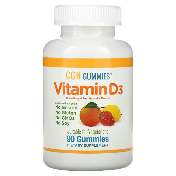 California Gold Nutrition, Vitamin D3 Gummies, No Gelatin, No Gluten, Mixed Berry & Fruit Flavors, 25 mcg (1,000 IU), 90 Gummies