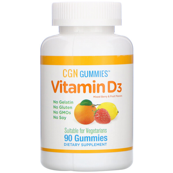 California Gold Nutrition, Vitamin D3 Gummies, No Gelatin, No Gluten, Mixed Berry & Fruit Flavors, 2,000 IU Per Serving, 90 Gummies