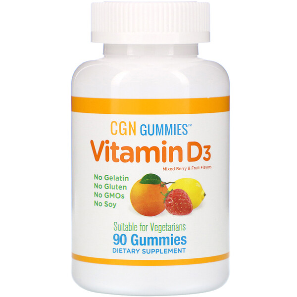 Vitamin D3 Gummies, No Gelatin, No Gluten, Mixed Berry & Fruit Flavors, 2,000 IU Per Serving, 90 Gummies