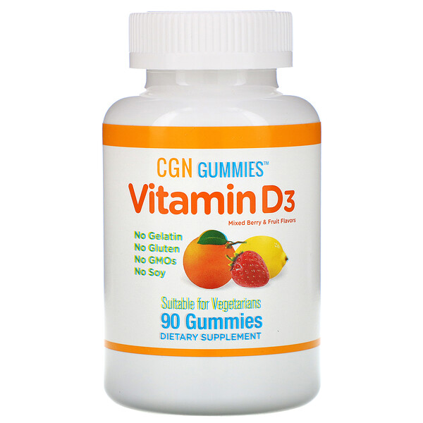 California Gold Nutrition, Vitamin D3 Gummies, No Gelatin, No Gluten, Mixed Berry & Fruit Flavors, 2,000 IU Per Serving, 90 Gummies