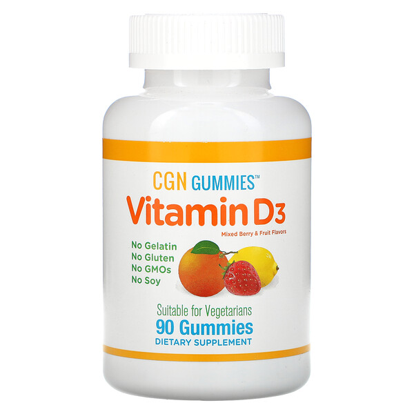 California Gold Nutrition, Vitamin D3 Gummies, No Gelatin, No Gluten, Mixed Berry & Fruit Flavors, 25 mcg (1,000 IU), 90 Gummies