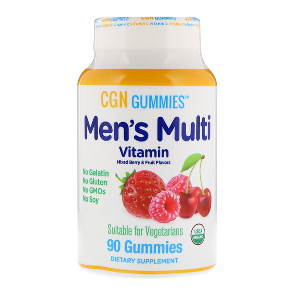 California Gold Nutrition, Men's Multi Vitamin Gummies, No Gelatin, No Gluten, Organic Mixed Berry and Fruit Flavor, 90 Gummies