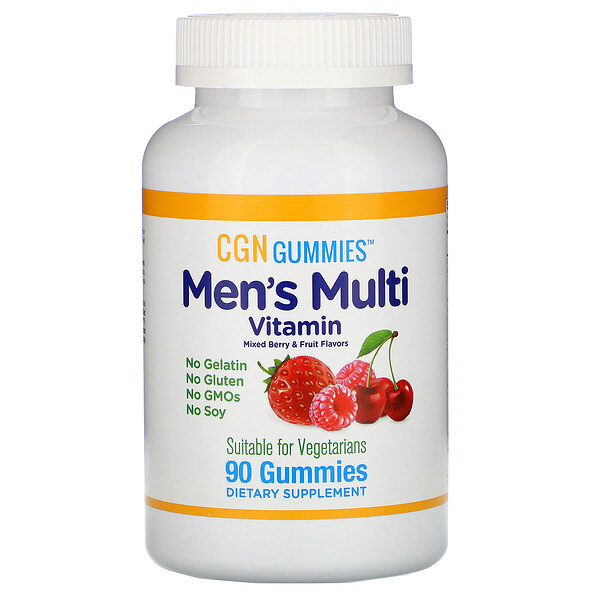 Men's Multi Vitamin Gummies, No Gelatin, No Gluten, Mixed Berry and Fruit Flavor, 90 Gummies