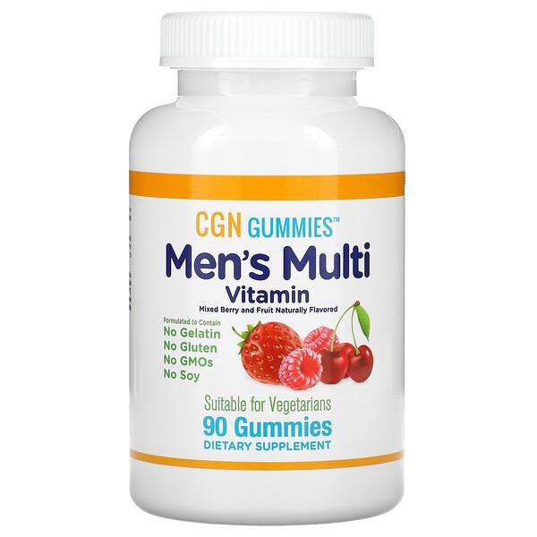 علكات الفيتامينات المتعددة للرجال، خالية من الجيلاتين والجلوتين، بنكهات خليط التوت والفواكه، 90 علكة