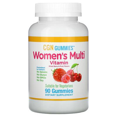 California Gold Nutrition мультивитамины для женщин, без желатина и глютена, ягодно-фруктовый вкус, 90жевательных конфет