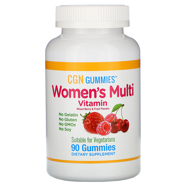 Women's Multi Vitamin Gummies, No Gelatin, No Gluten, Mixed Berry and Fruit Flavor, 90 Gummies