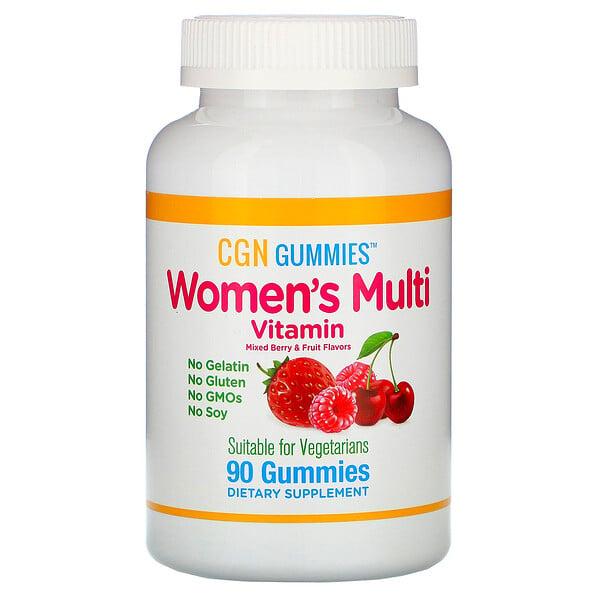 女性多種維生素軟糖,不含明膠,不含麩質,混合漿果和水果香料,90 塊軟糖