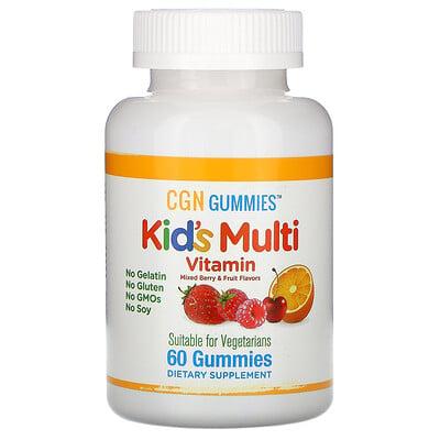 California Gold Nutrition Поливитамины для детей в жевательных таблетках, без желатина, с ягодным и фруктовым вкусами, 60жевательных таблеток