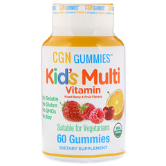 California Gold Nutrition, Kid's Multi Vitamin Gummies, No Gelatin, No Gluten, Organic Mixed Berry and Fruit Flavor, 60 Gummies