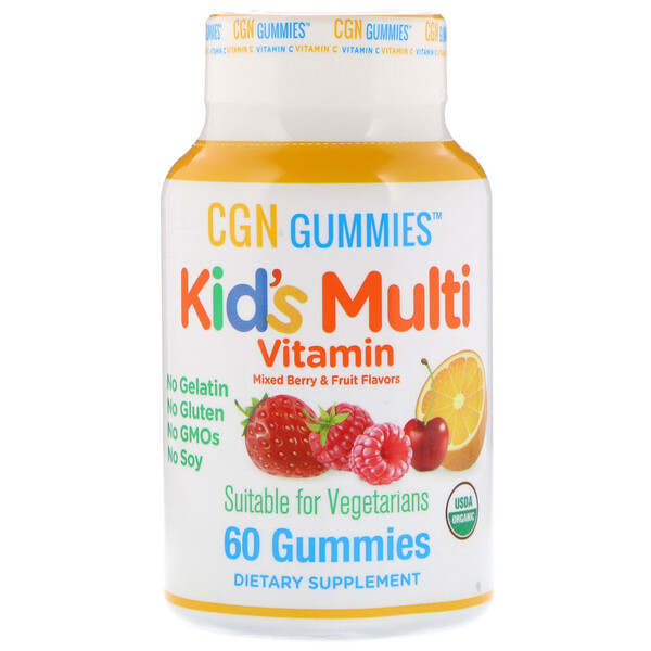 Kid's Multi Vitamin Gummies, No Gelatin, No Gluten, Organic Mixed Berry and Fruit Flavor, 60 Gummies