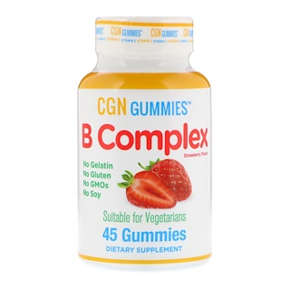 California Gold Nutrition, B Complex Gummies, No Gelatin, No Gluten, Natural Strawberry Flavor, 45 Gummies