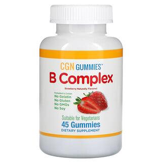 California Gold Nutrition, B Complex Gummies, No Gelatin, No Gluten, Natural Strawberry Flavor, 45 Gummies