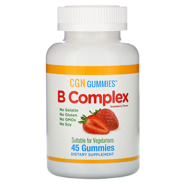 B Complex Gummies, No Gelatin, No Gluten, Natural Strawberry Flavor, 45 Gummies