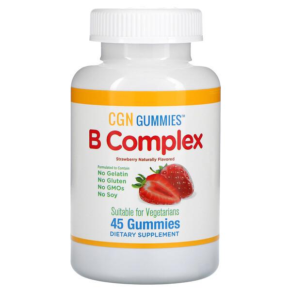 B Complex Gummies, No Gelatin, No Gluten, Natural Strawberry Flavor, 45 Gummies