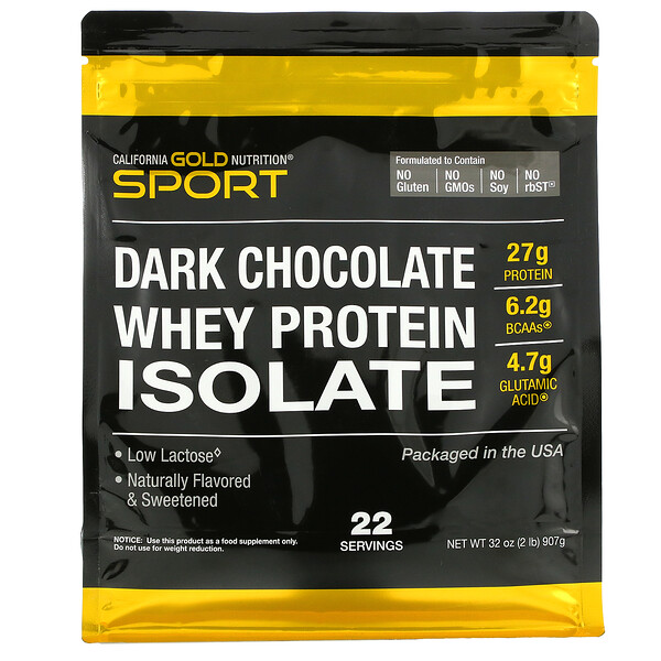 100% Whey Protein Isolate, Dark Chocolate, 2 lbs (907 g)