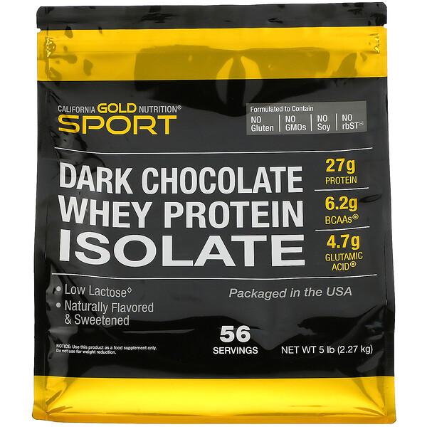 California Gold Nutrition, عزل مصل بروتين، بنكهة الشوكولاتة الغامقة، 5 أرطال (2270 جم)