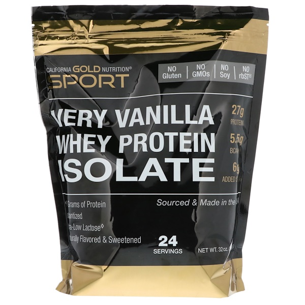 California Gold Nutrition, Whey Protein Isolate, Very Vanilla Flavor, 2 lbs (908 g)