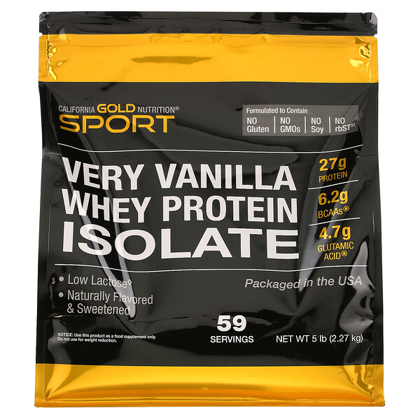 Whey Protein Isolate, Very Vanilla Flavor, 5 lbs (2,270 g)