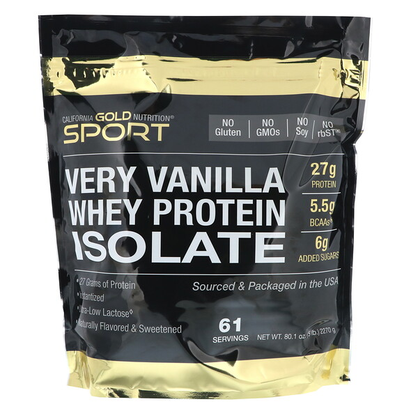 California Gold Nutrition, Very Vanilla Flavor Whey Protein Isolate, 5 lbs (2270 g)