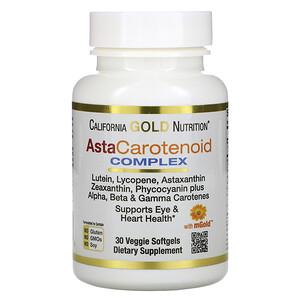 California Gold Nutrition, AstaCarotenoid Complex, Lutein, Lycopene, Astaxanthin Complex, 30 Veggie Softgels отзывы