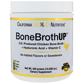 California Gold Nutrition, BoneBrothUp Protein, куриный костный бульон, с гиалуроновой кислотой, витамин С, 15,838 унции (449 г)