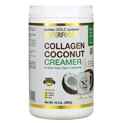 Купить California Gold Nutrition Superfoods, кокосовые сливки с коллагеном в порошке, без подсластителей, 288г (10, 2унции)