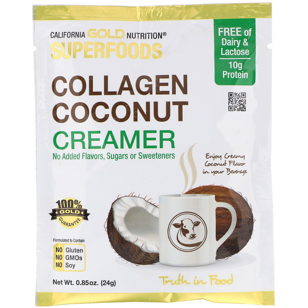 California Gold Nutrition, Superfoods, Collagen Coconut Creamer, Unsweetened, 0.85 oz (24 g) (Discontinued Item)