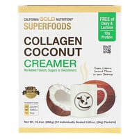 California Gold Nutrition, Superfoods, Superfoods, Collagen Coconut Creamer, Kollagen-Kokosnuss-Kaffeeweißer, ungesüßt, 12 Päckchen, jeweils 24 g (0,85 oz.)
