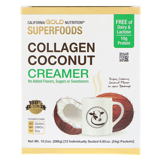 California Gold Nutrition, Superfoods, Collagen Coconut Creamer, Unsweetened, 12 Packets 0.85 oz (24 g) Each