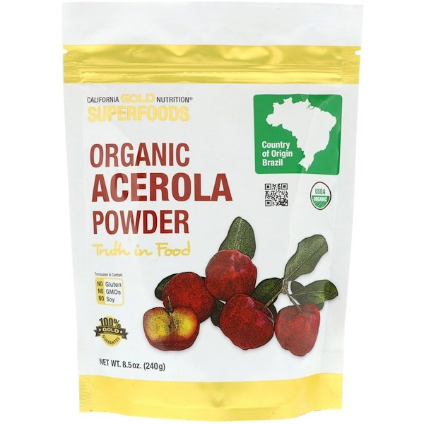 California Gold Nutrition, Superfoods, Acerola Orgânica em Pó, 8,5 oz (240 g) (Discontinued Item)
