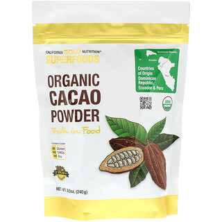 California Gold Nutrition, Superfoods, Organic Cacao Powder, 8.5 oz (240 g)
