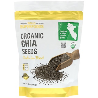 California Gold Nutrition, Super aliments, Graines Chia biologiques, 12 oz (340 g)