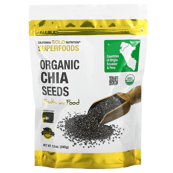 California Gold Nutrition, Superfoods, Semillas de chía orgánica, 340g (12oz)