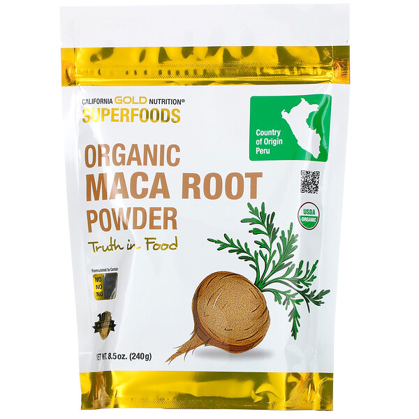 California Gold Nutrition, Superfoods, Raíz de maca orgánica en polvo, 240 g (8,5 oz)