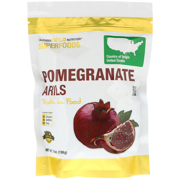 California Gold Nutrition, Super-aliment, Pomegranate Arils, 7 oz (199 g)