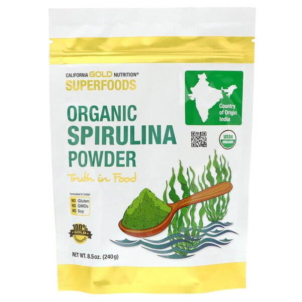 California Gold Nutrition, Superfoods, Polvo de espirulina orgánica, 240 g (8,5 oz)