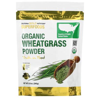 Купить California Gold Nutrition Superfoods, органический порошок ростков пшеницы, 8, 5 унции (240 г)