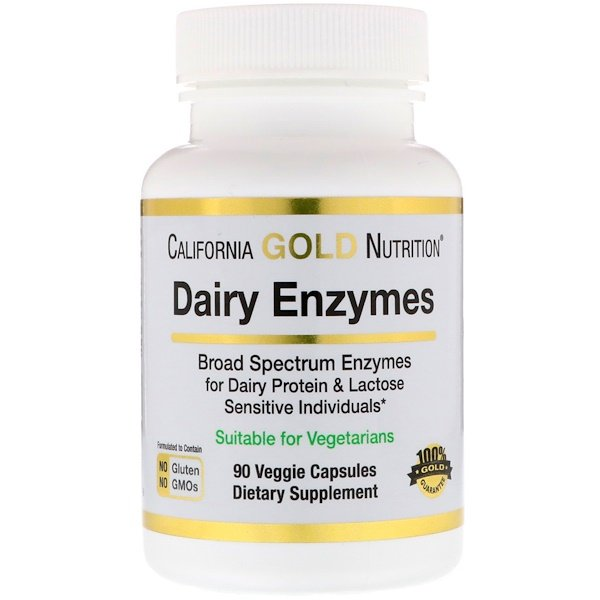 California Gold Nutrition, Dairy Enzymes, 90 Veggie Capsules (Discontinued Item)