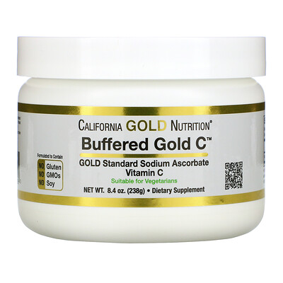 California Gold Nutrition Buffered Gold C, некислый буферизованный витаминC в форме порошка, аскорбат натрия, 238г (8,4унции)