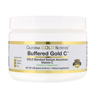California Gold Nutrition, Buffered Gold C,維生素 C 粉劑,非酸性,抗壞血酸鈉,8.40 盎司(238 克)