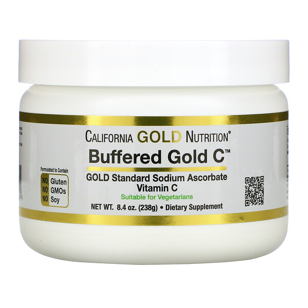 Gold C, Vitamina C regulada no ácida en polvo, Ascorbato de sodio, 238 g (8,40 oz)