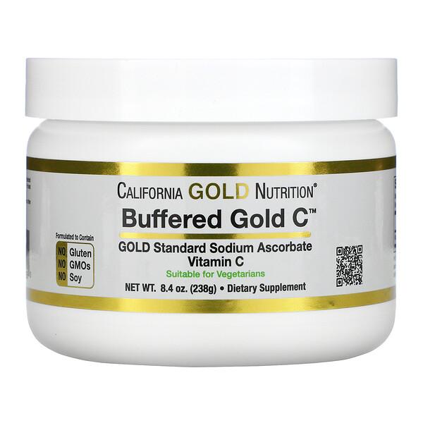 Buffered Gold C, некислый буферизованный витаминC в форме порошка, аскорбат натрия, 238г (8,4унции)
