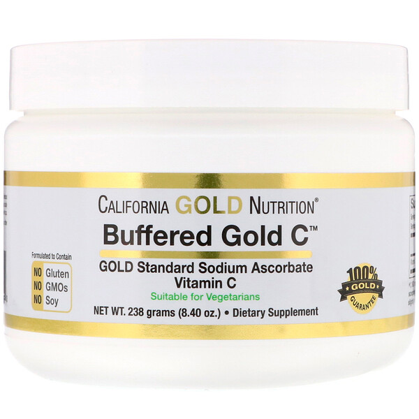 Buffered Gold C, Non-Acidic Vitamin C Powder, Sodium Ascorbate, 8.40 oz (238 g)