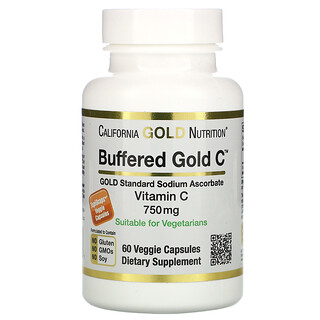 California Gold Nutrition, Cápsulas de Vitamina C Tamponadas, 750 mg, 60 Cápsulas Vegetais
