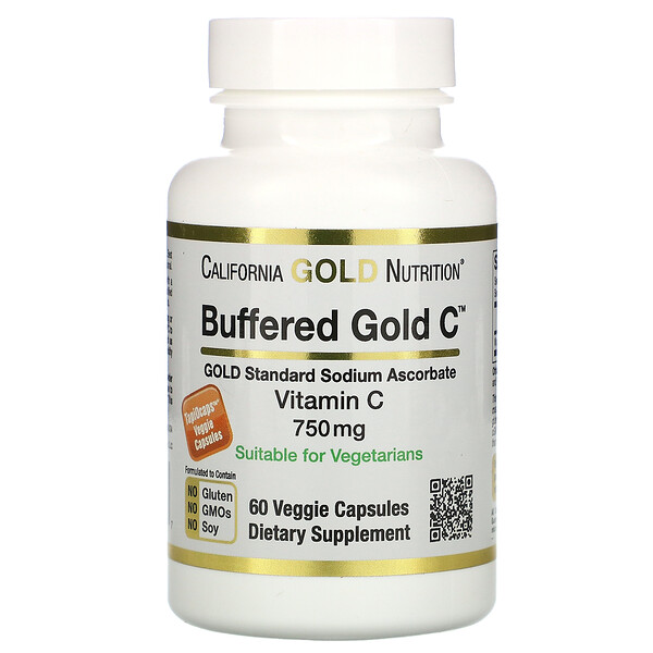 California Gold Nutrition, Cápsulas de vitamina C regulada, 750 mg, 60 cápsulas vegetales