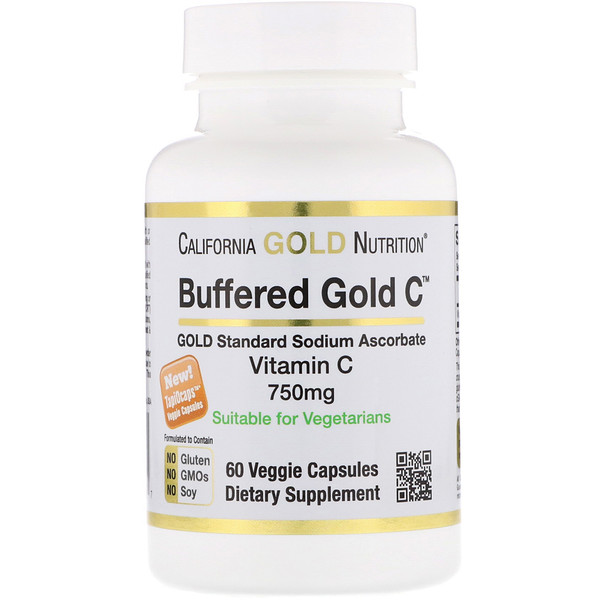 California Gold Nutrition, Buffered Gold C, Vitamina C Não Ácida, Ascorbato de Sódio, 750 mg, 60 Cápsulas Vegetais