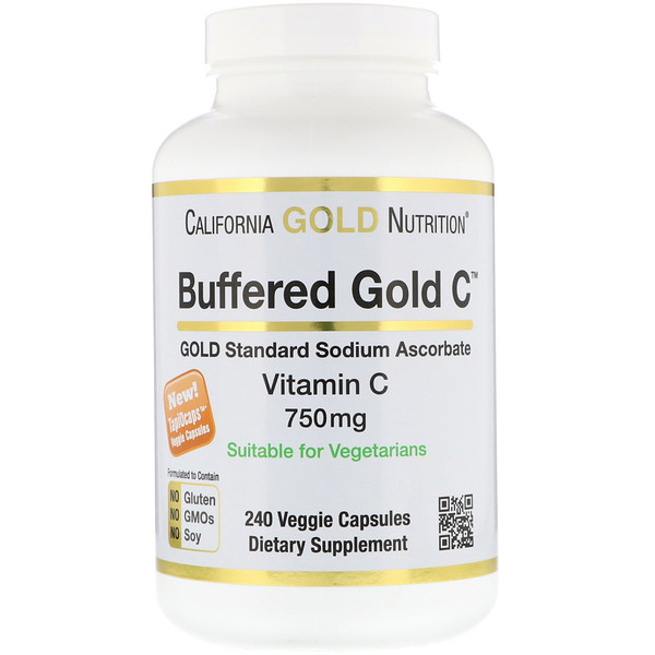 California Gold Nutrition, Buffered Gold C, Non-Acidic Vitamin C, Sodium Ascorbate, 750 mg, 240 Veggie Capsules