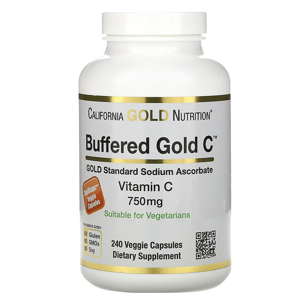 Buffered Vitamin C Capsules, 750 mg, 240 Veggie Capsules
