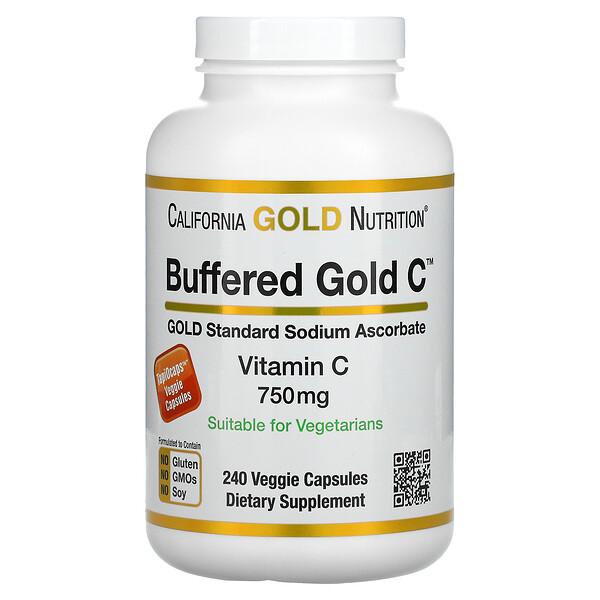 Buffered Vitamin C Capsules, 750 mg, 240 Veggie Capsules